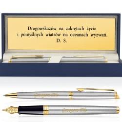 pióro i długopis parker z grawerem w pudełku