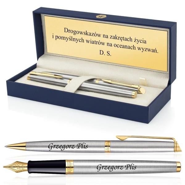 zestaw waterman pióro i długopis z grawerem w etui