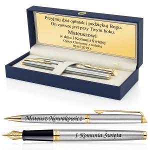 pamiątka komunijna długopis i pióro w pudełku z grawerem