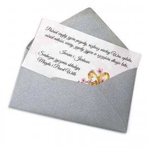 bilecik z dedykacją na prezent ślubny