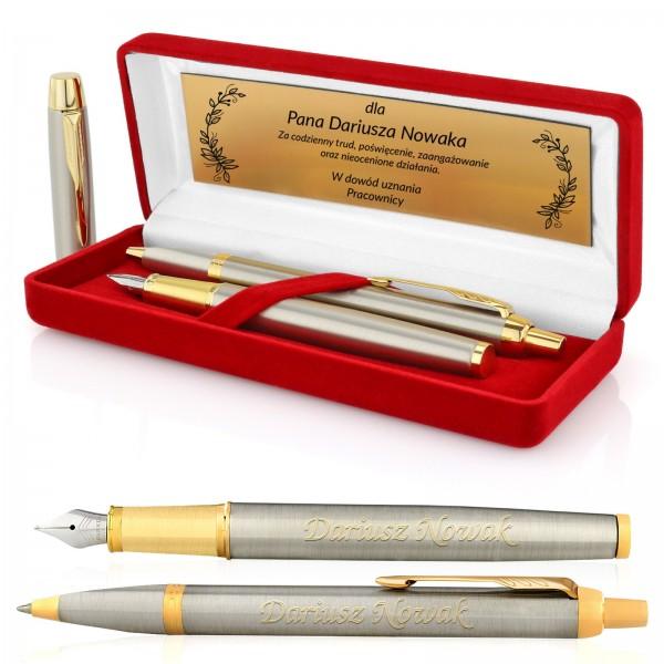 zestaw parker długopis i pióro w pudełku z grawerem