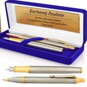 pióro i długopis z w pudełku z dedykacją
