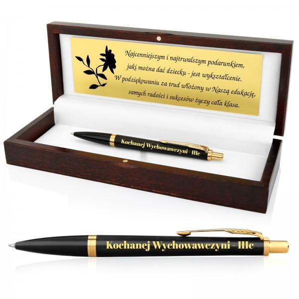 długopis parker w drewnianym etui z grawerem dedykacji