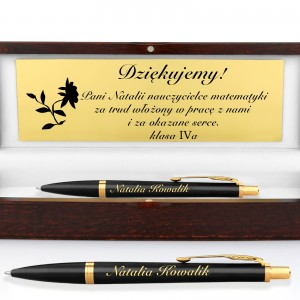 długopis w pudełku z grawerem na prezent dla nauczyciela matematyki