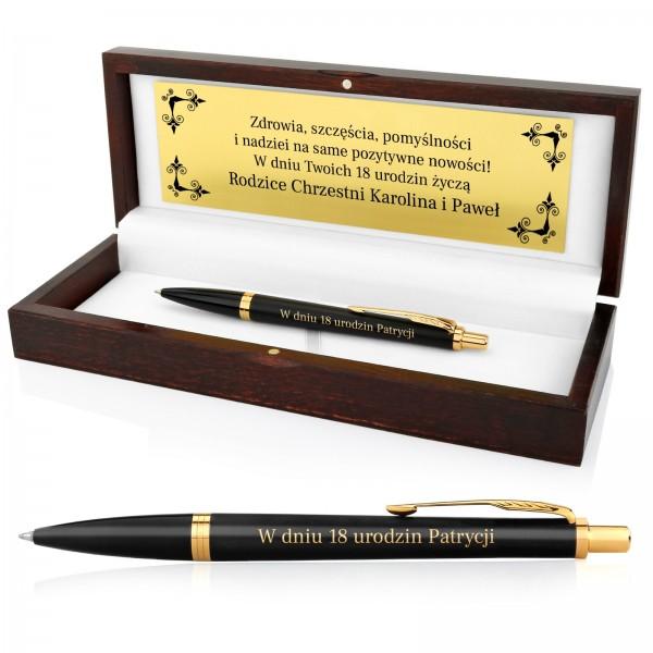 prezent na 18 urodziny długopis w drewnianym pudełku z grawerem