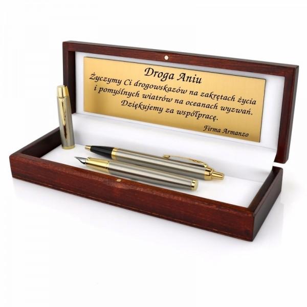 długopis i pióro parker z grawerem na prezent