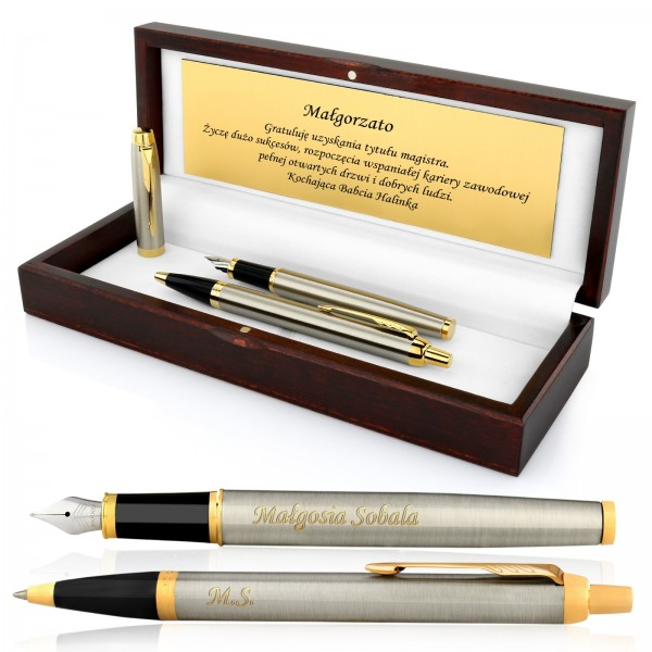 zestaw pióro i długopis z grawerem na prezent