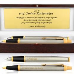 pióro i długopis z grawerem na podziękowania dla promotora