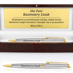 długopis z grawerem w pudełku na podziękowanie dla nauczyciela