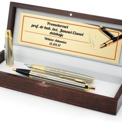 długopis i pióro z grawerem dedykacji na prezent